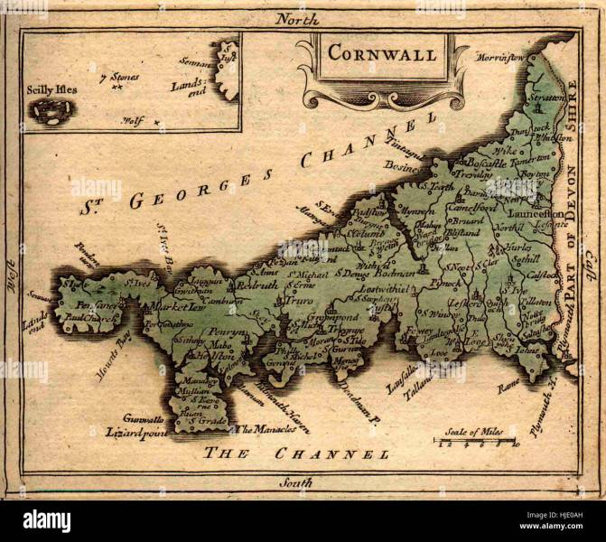 Map Of Cornwall 1850 Stock Photo  131844009   Alamy Map Of Cornwall 1850