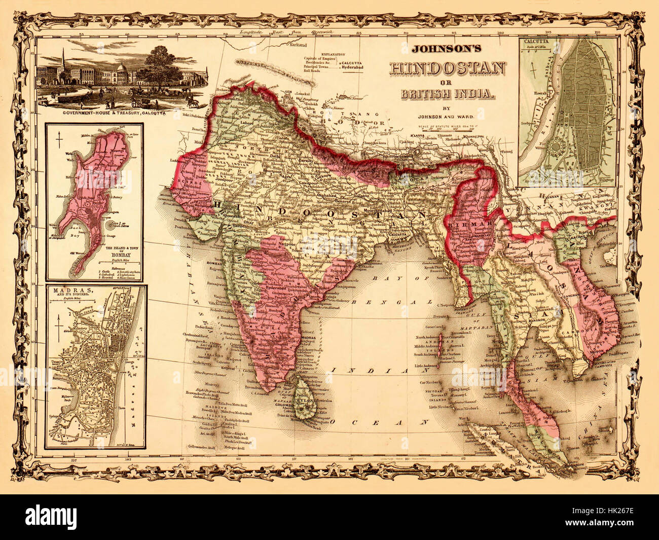 Map Of India 1867 Stock Photo  132199858   Alamy Map Of India 1867