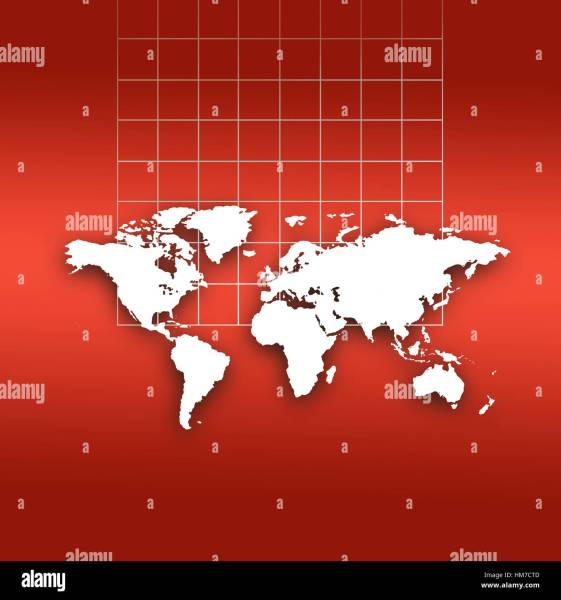 World Map Outline Stock Photos   World Map Outline Stock Images   Alamy World map outlines and grid on red background   Stock Image