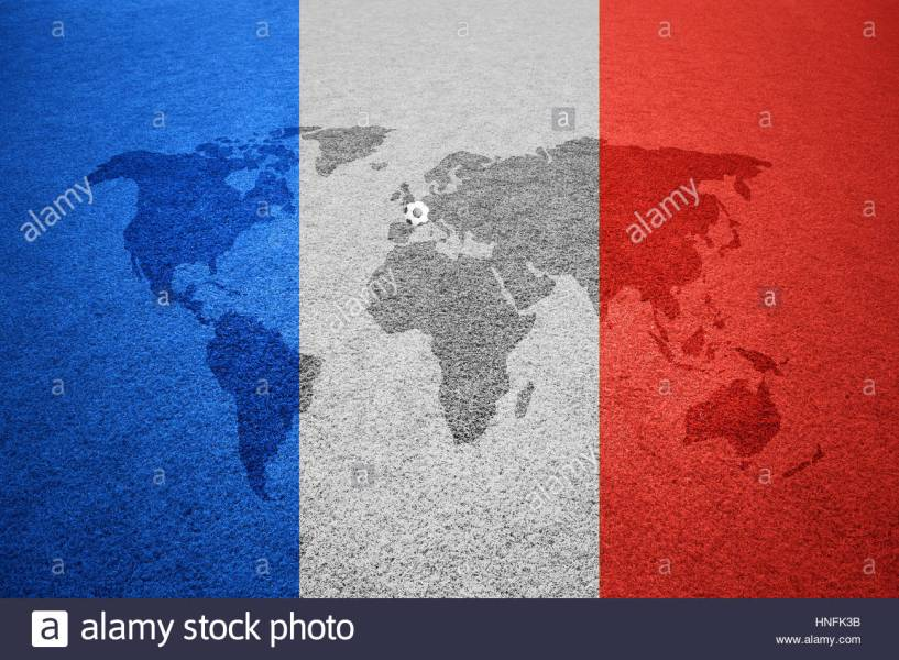 Soccer field with world map Europe caption and small soccer ball on     Soccer field with world map Europe caption and small soccer ball on France  flag colored background