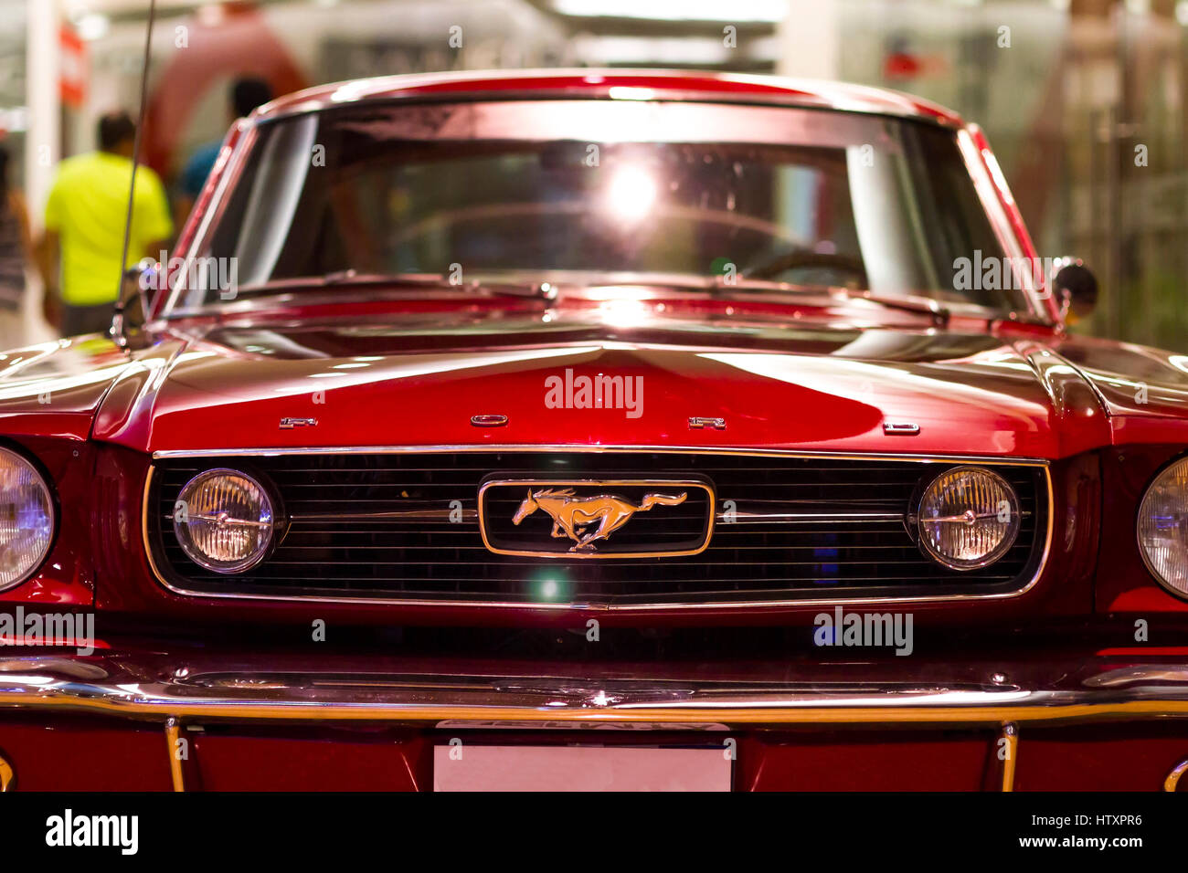 1965 Ford Mustang Fastback red  Front view  Exhibition of classic     1965 Ford Mustang Fastback red  Front view  Exhibition of classic and  antique cars