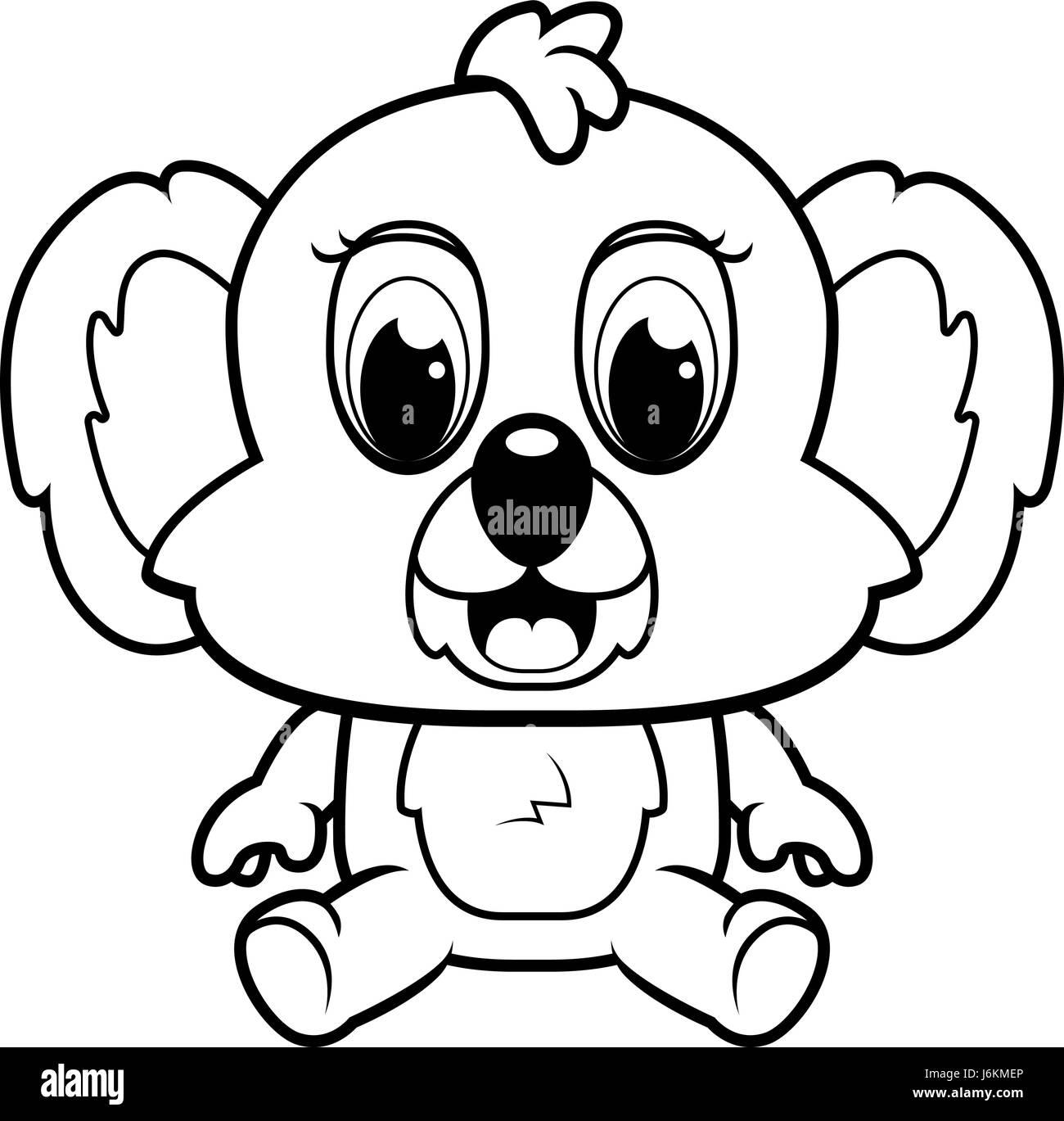 A happy cartoon baby koala bear sitting and smiling Stock ...