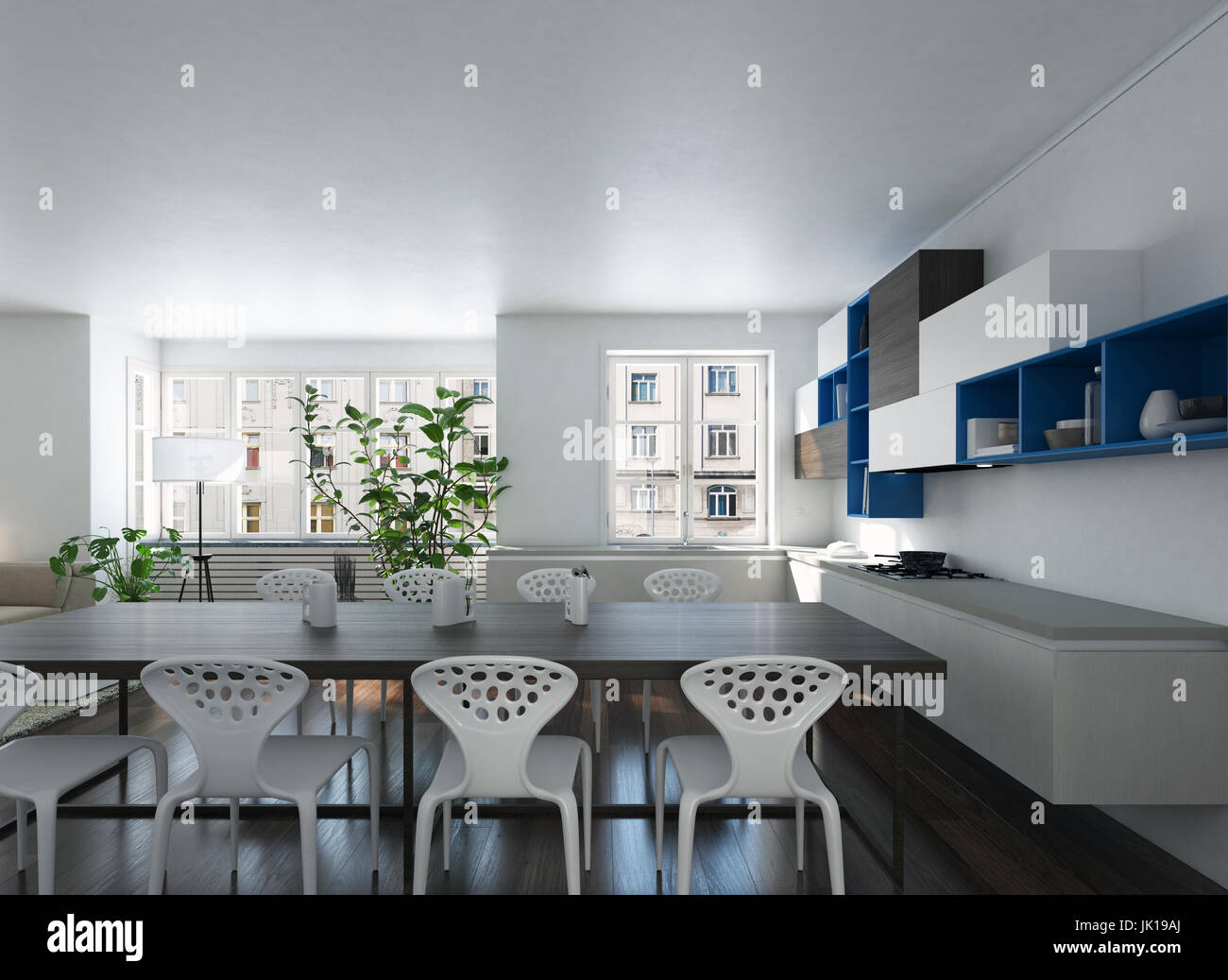 3d render of a modern spacious open plan kitchen dining room with     3d render of a modern spacious open plan kitchen dining room with stylish  contemporary furniture and potted plants in white and black decor