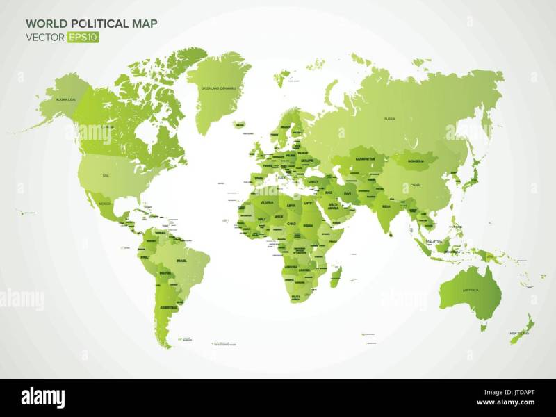 Vector political map with the names of all countries in green Stock     Vector political map with the names of all countries in green gradient  color  vector illustration