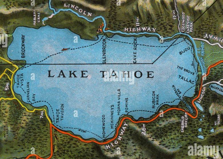 HD Decor Images » Map of the Lake Tahoe area  Nevada and California  USA  showing the     Map of the Lake Tahoe area  Nevada and California  USA  showing the highway  system  Date  1922