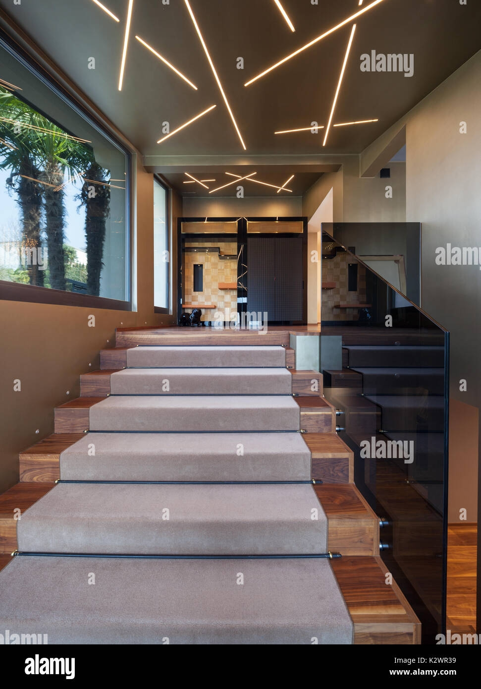 Modern Home Entrance Stairs With Glass Parapet Stock Photo Alamy   Home Entrance Stairs Design   Interior   Bedroom Home Kerala   Garden   Architecture   Fancy House