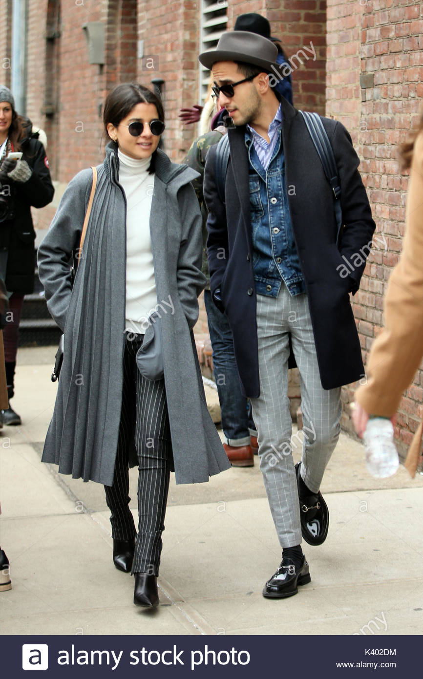 Lainy Alexandra Hedaya Moti Ankari  STREET STYLE   Haute in Habit     STREET STYLE   Haute in Habit  fashion blogger  Lainy Alexandra Hedaya   wearing a grey Maison Margiela coat and The Metro Man  Moti Ankari  attend  the Tibi
