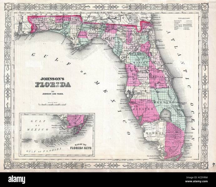Old Map Of Florida Stock Photos   Old Map Of Florida Stock Images     1864  Johnson Map of Florida   Stock Image