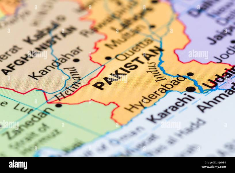 close up of a world map with the word Pakistan in focus Stock Photo     close up of a world map with the word Pakistan in focus