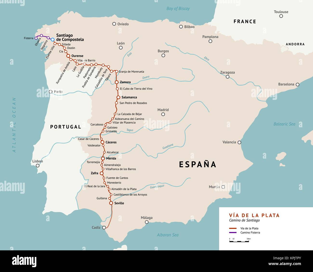 V    a de la Plata map  The Silver route  Camino De Santiago or The Way     V    a de la Plata map  The Silver route  Camino De Santiago or The Way of  St James in Spain  Ancient pilgrimage path from south of Spain to the  Santiago