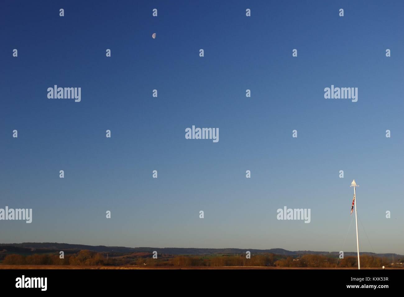 Sky Moon Blue Cloudless