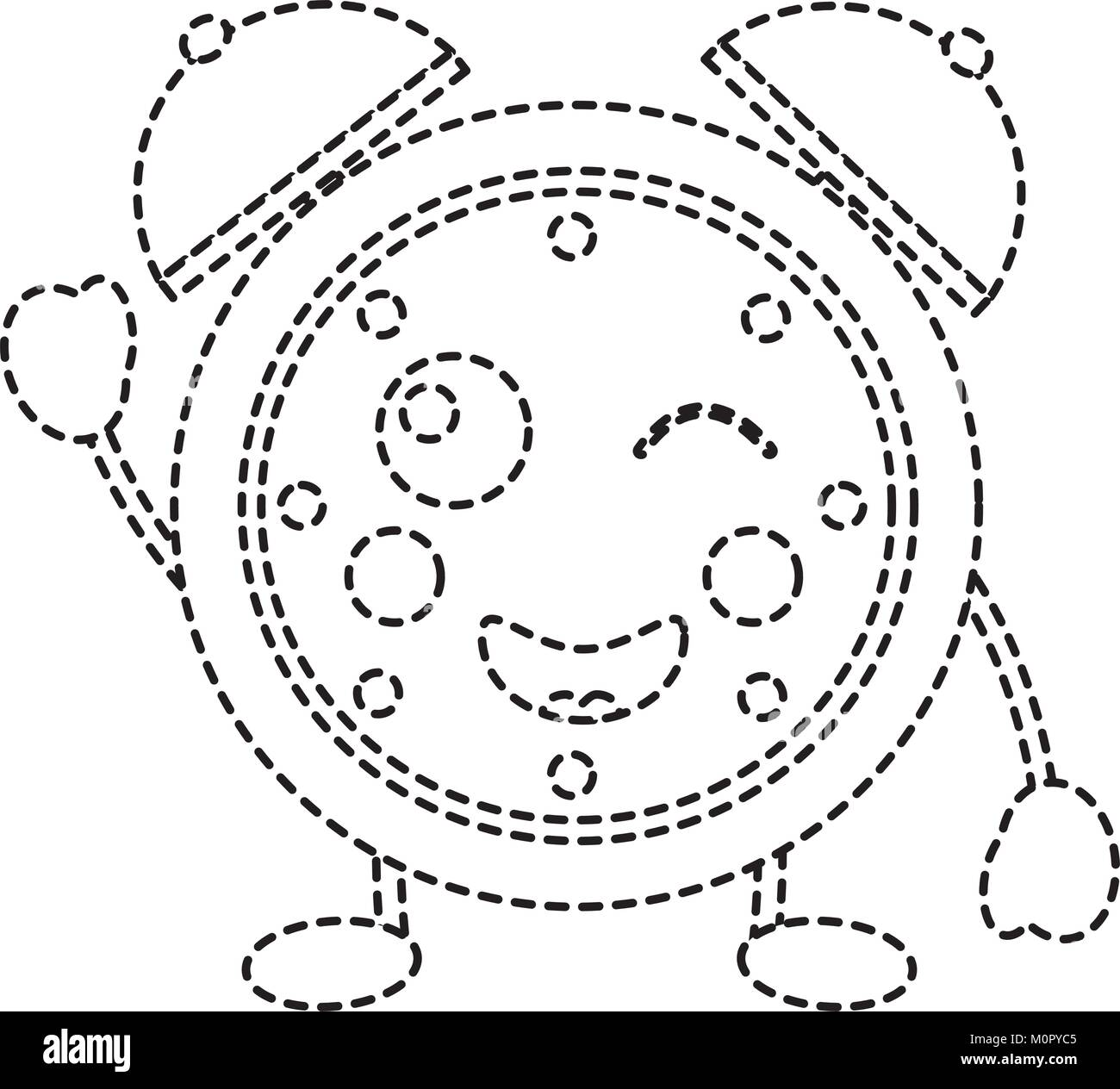 Happy clock kawaii icon image stock image