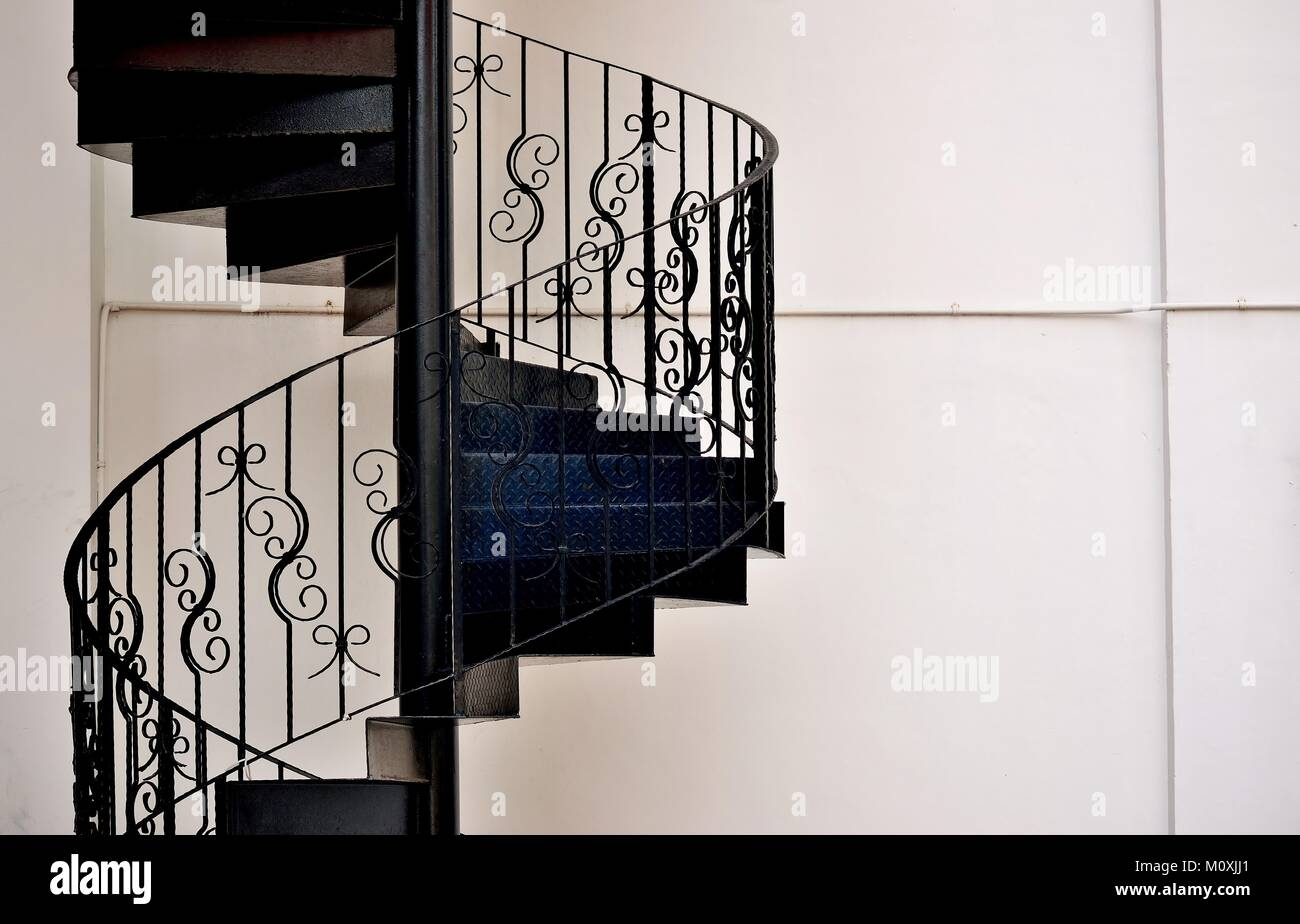 Elegant Metal Exterior Spiral Staircase On The Side Of A House In | Exterior Metal Spiral Staircase | Interior | Outdoor | Free Standing | Custom Exterior | Model