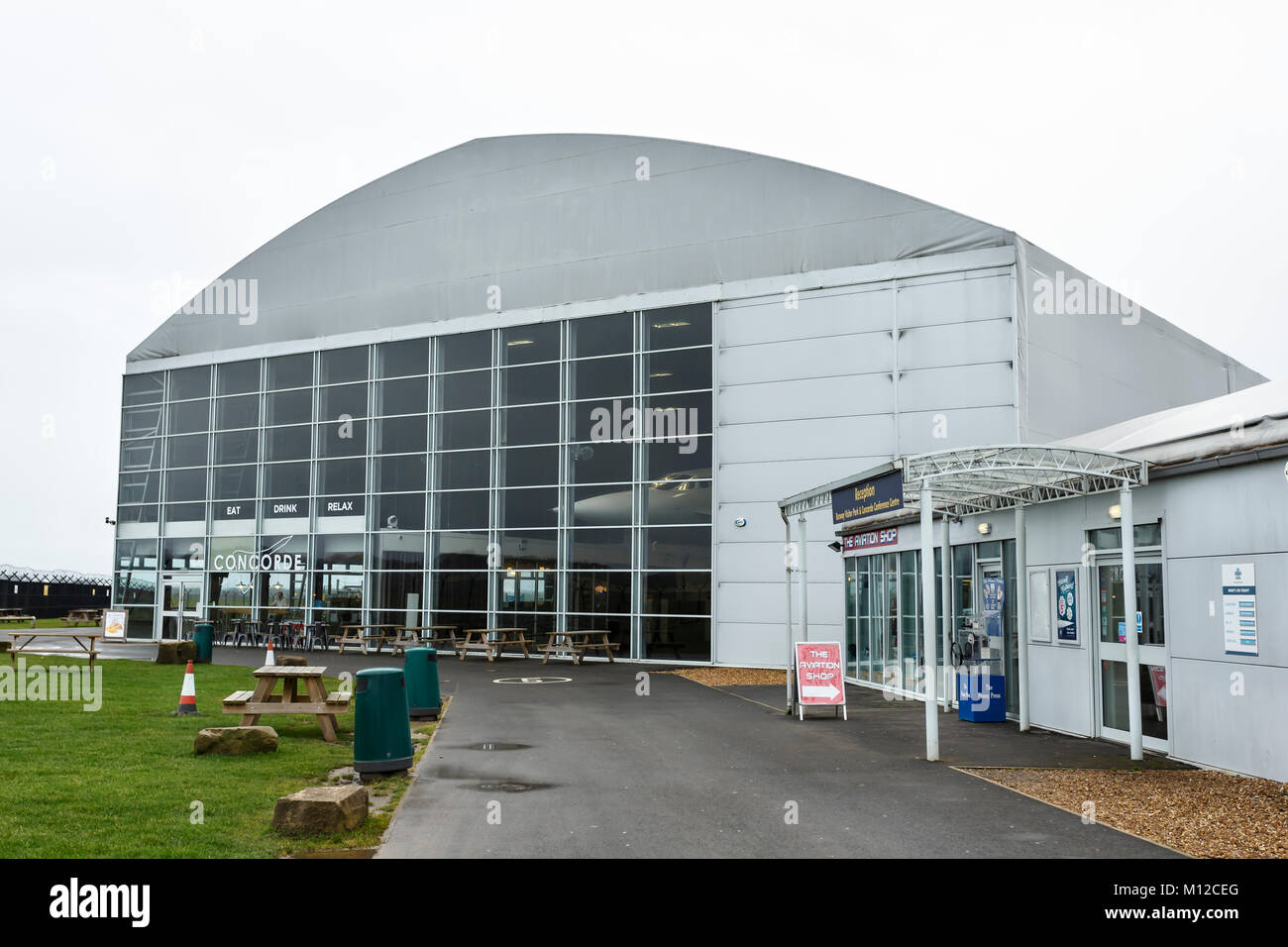 The Concorde hangar  restaurant and gift shop at Manchester Stock     The Concorde hangar  restaurant and gift shop at Manchester International  Airport