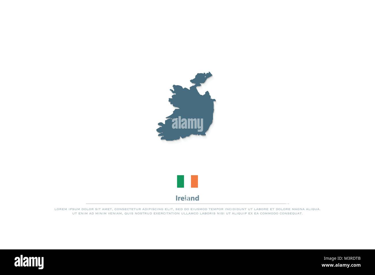 Republic of Ireland isolated maps and official flag icon  vector     Republic of Ireland isolated maps and official flag icon  vector Irish  territory logo  EU geographic banner template  travel and business logotype