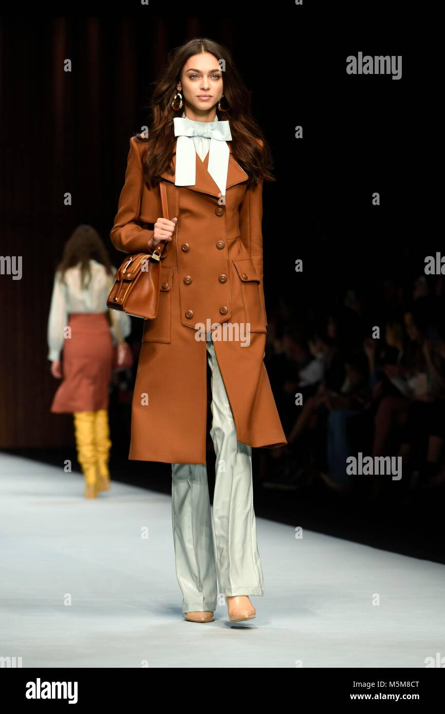 Milan  Italy  24 Feb 2018  Woman Fashion Week Fall Winter  2018 2019     Woman Fashion Week Fall Winter  2018 2019 Elisabetta Franchi Fashion Show