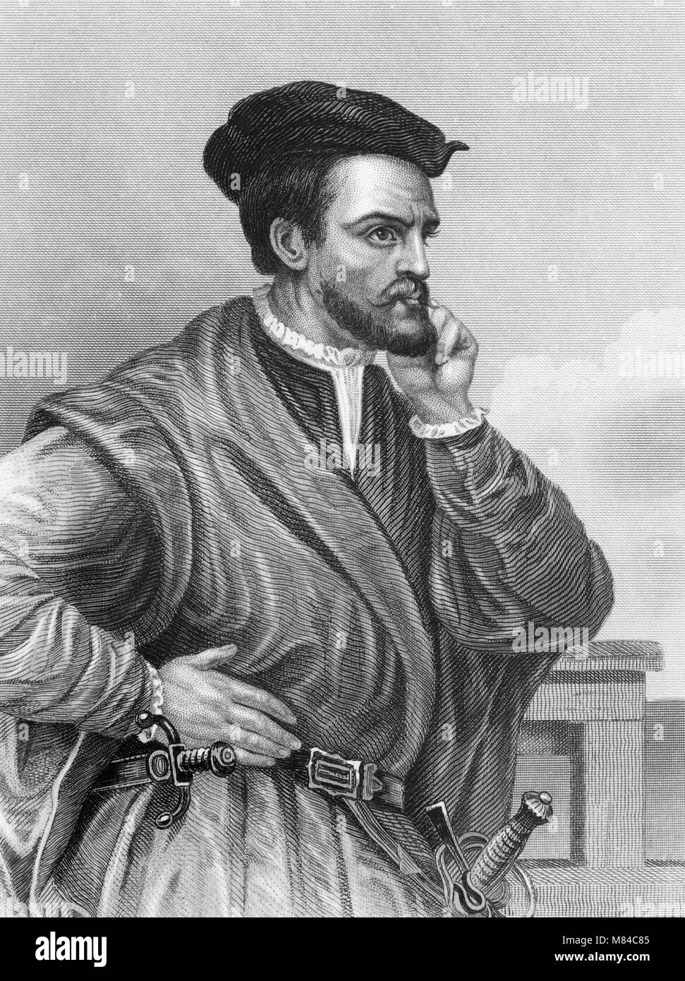 Jacques Cartier  1491 1557   A 19th century engraving of the Breton     Jacques Cartier  1491 1557   A 19th century engraving of the Breton  explorer who claimed what is now Canada for France