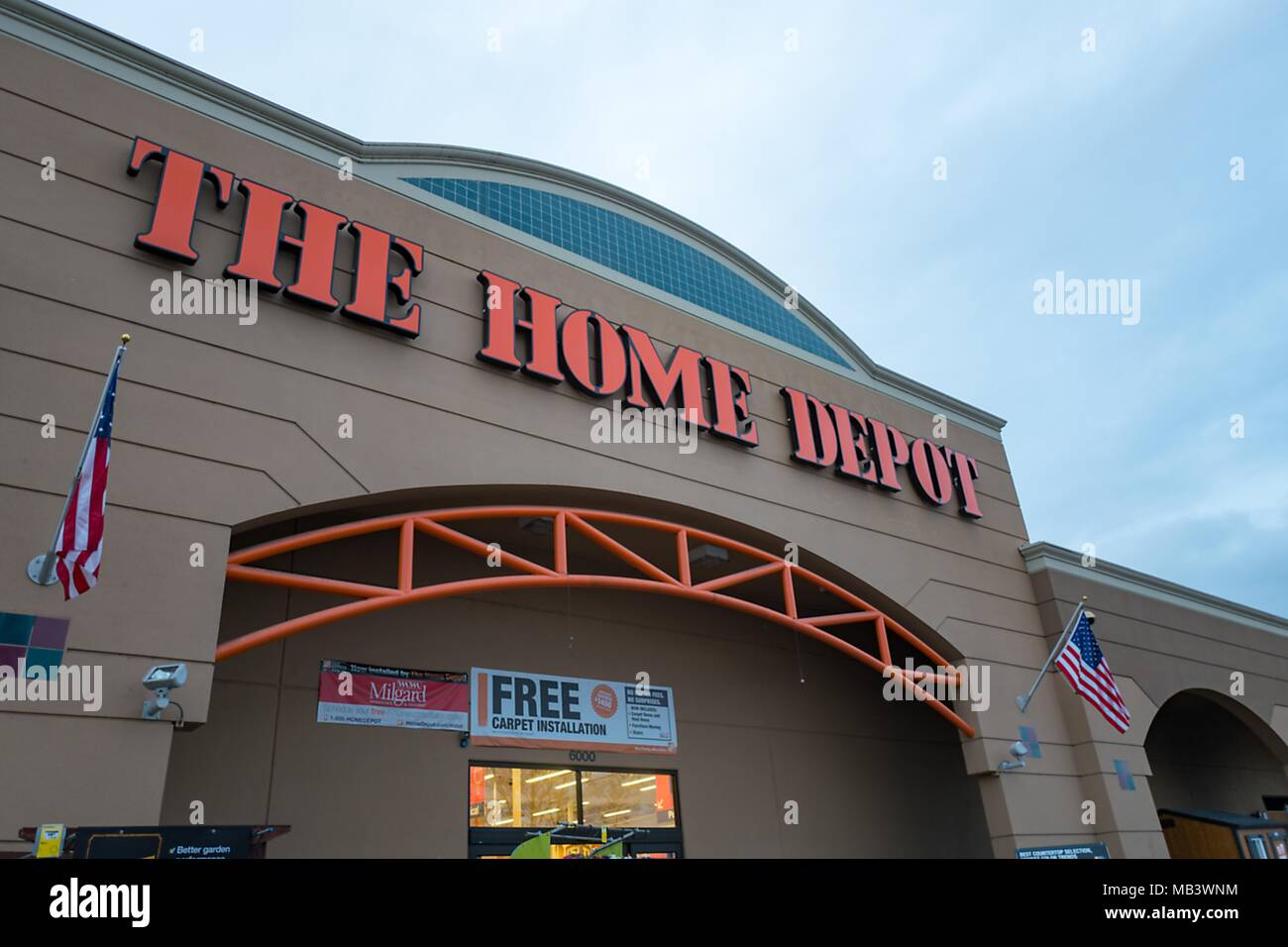 Carpet Depot Stock Photos   Carpet Depot Stock Images   Alamy Facade with logo and sign at dusk at Home Depot home improvement store in  Pleasanton