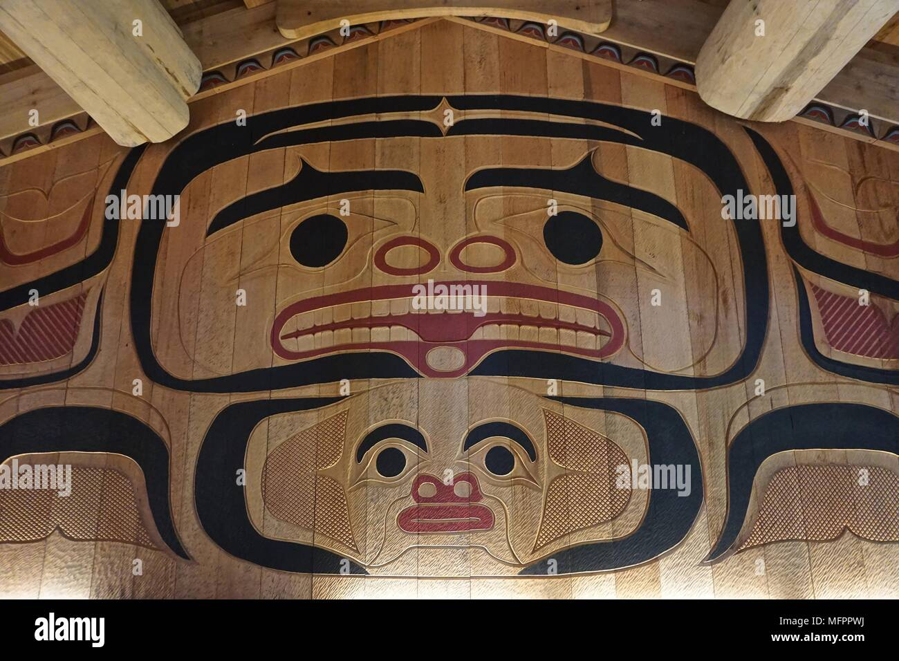 Ketchikan  Alaska  USA  The interior of the clan house at Potlatch     Ketchikan  Alaska  USA  The interior of the clan house at Potlatch Totem  Park  a recreated Tlingit village in the American Northwest