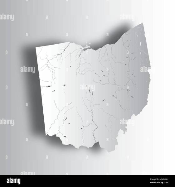 U S  states   map of Ohio with paper cut effect  Hand made  Rivers     U S  states   map of Ohio with paper cut effect  Hand made  Rivers and  lakes are shown  Please look at my other images of cartographic series    they a