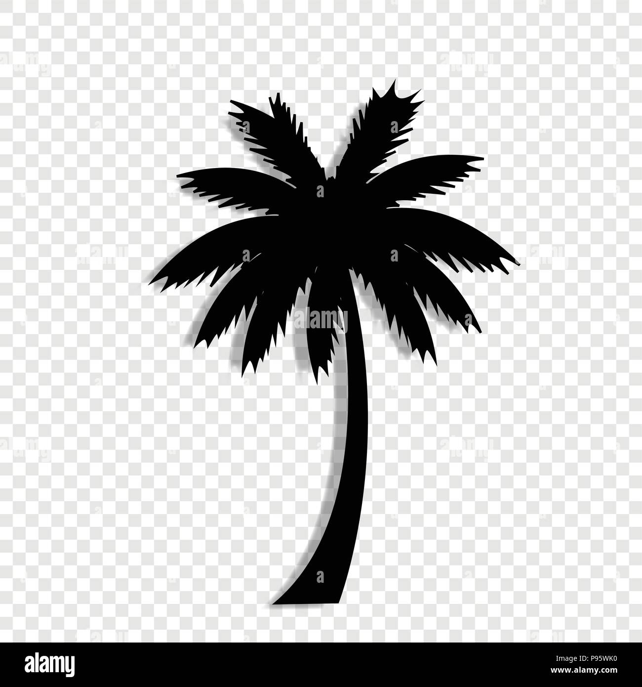 Vector Black Silhouette Illustration Of Palm Tree Icon Isolated On Transparent Background Stock