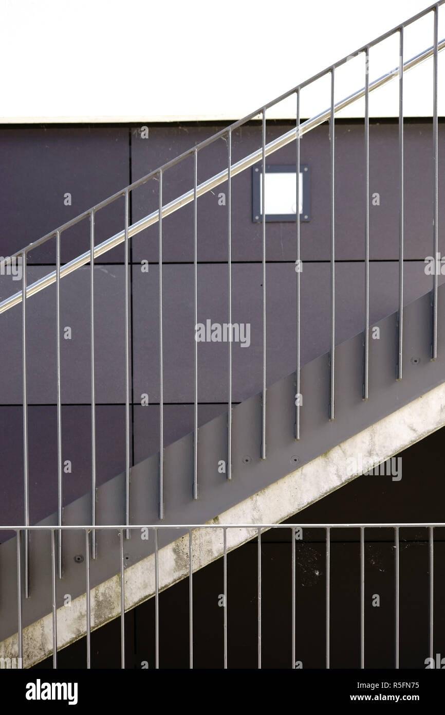 Modern Stainless Steel Stair Railing Stock Photo Alamy   Stainless Steel Stair Railing   Price   Wall   Outdoor   Vertical   Golden