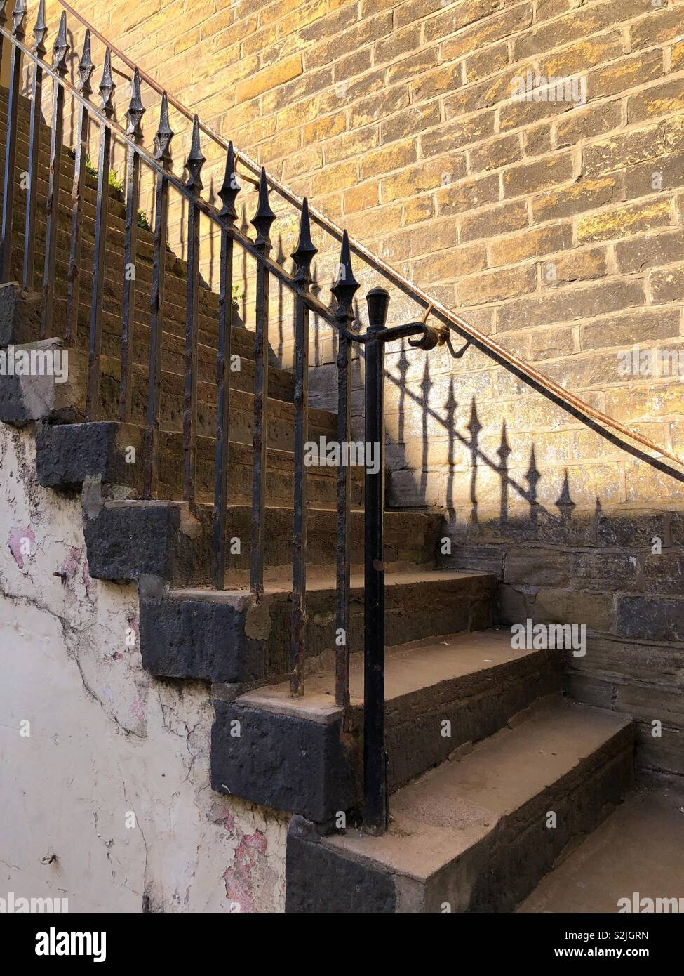 Flight Of Old Stone Steps With Wrought Iron Railings Leading Up | Metal Railing For Steps Outside | Front Porch | Deck Stair | Aluminum | Deck Railing | Staircase