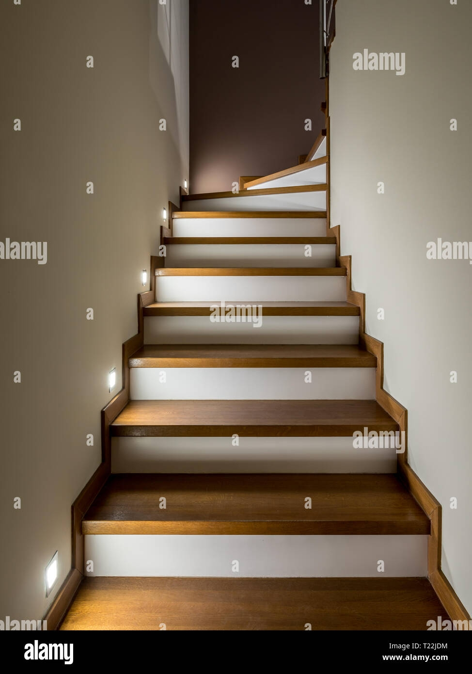 Illuminated Staircase With Wooden Steps And White Risers Modern | Wood Stairs With Wood Risers | Painting | Solid Oak Stair Treads Finished | Distressed | Before And After | Wooden