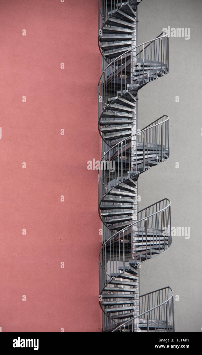 Spiral Staircase On The Outside Of The House Stock Photo Alamy   Stairs Design Outside The House   Family House   Exterior   Wall   Steel   Main Entrance Step