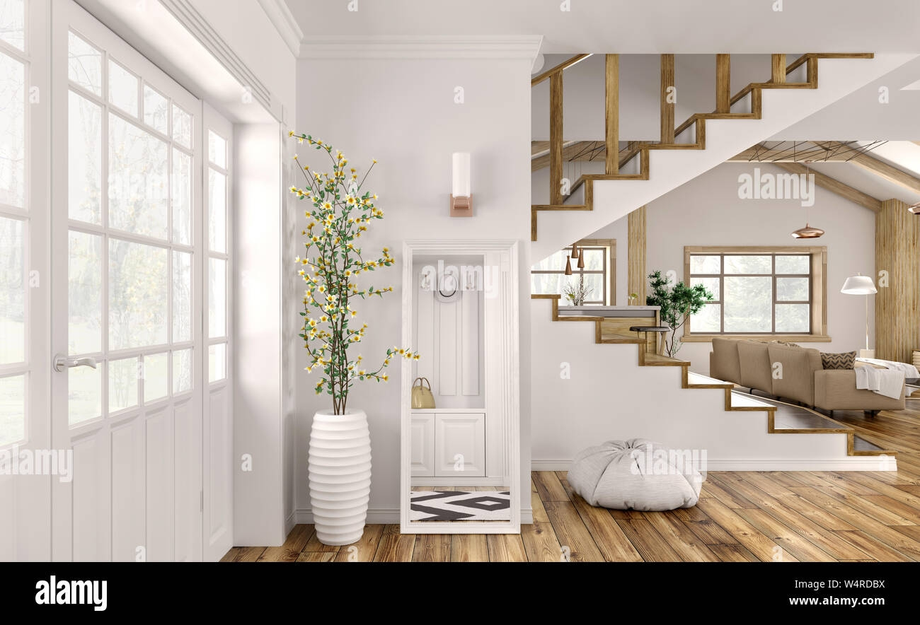 Modern Interior Design Of Hall Living Room With Staircase 3D | Living Room Stairs Design | Home | Classic House | Catalogue | White | Semi Circle House