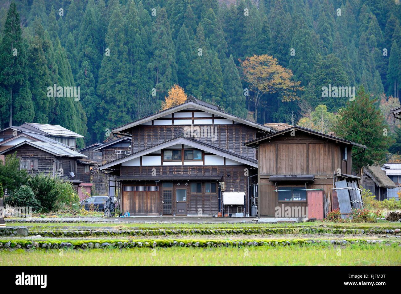 Japan, Japanische Alpen, Shirakawa, alte Häuser Stockfoto, Bild