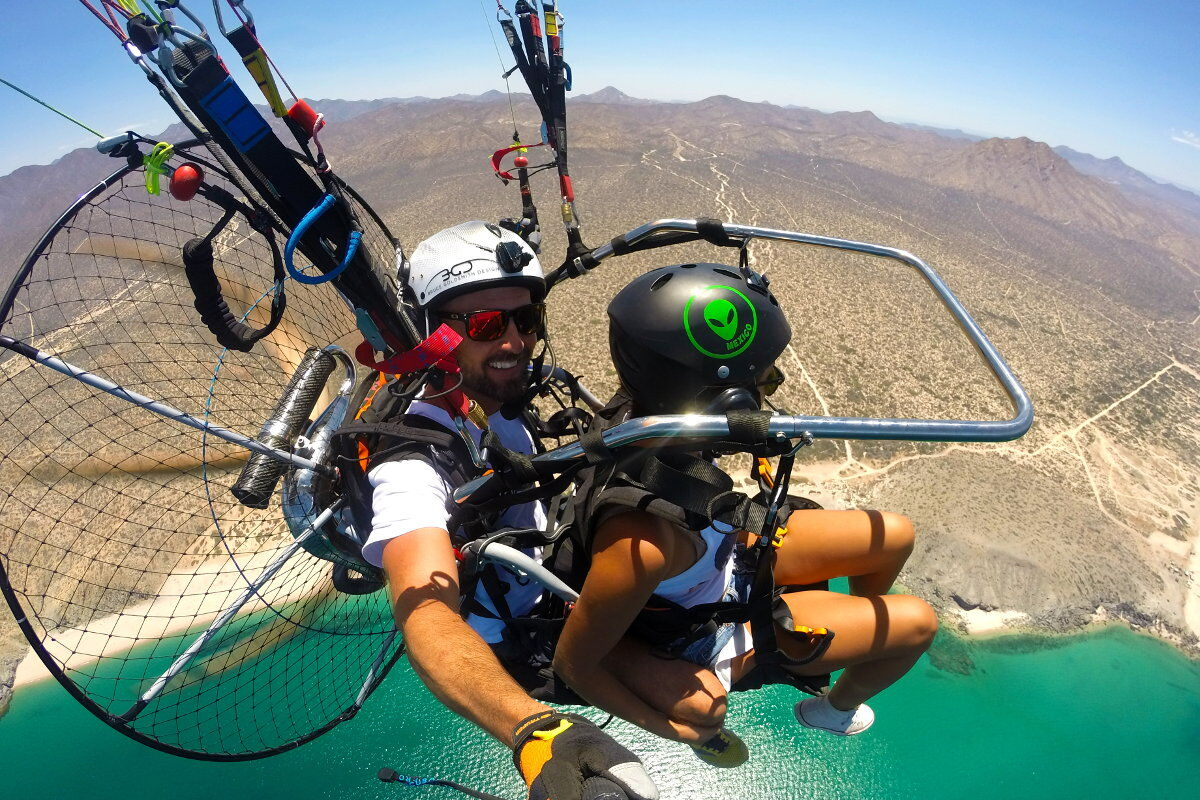 tandem paragliding tours in cabo with whalewatching from the sky paragliding mexico