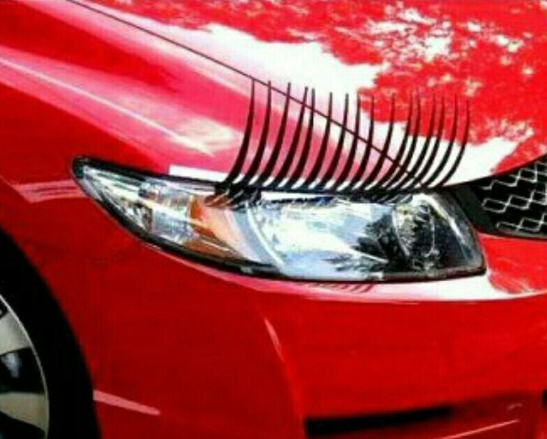 car with eyelashes