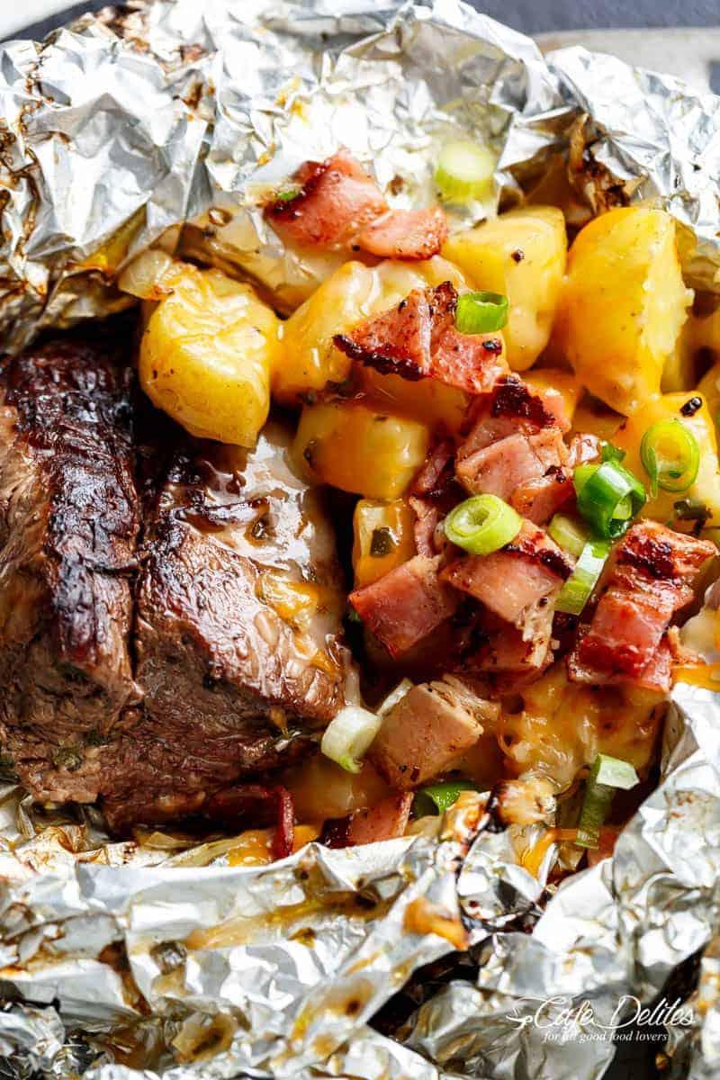 Garlic Steak Amp Cheesy Bacon Potato Hash Foil Packs Cafe