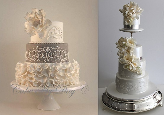 Silver Anniversary Cakes   Cake Geek Magazine silver wedding anniversary cake ideas from Cake My Day left and by Faye  Cahill right