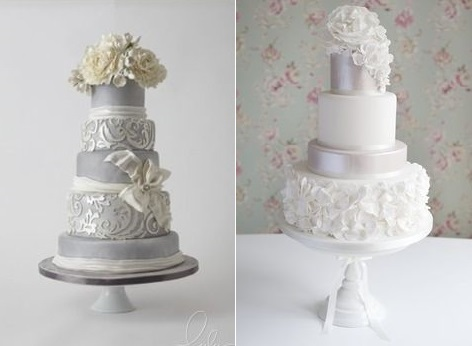 Silver Anniversary Cakes   Cake Geek Magazine silver wedding anniversary cake ideas from LuLu Cake Boutique left and from  Cotton and Crumbs right