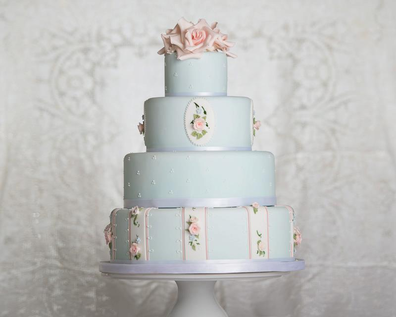 Our Wedding Colour of the Year     Pale Blue   Cake Geek Magazine blue wedding cake vintage roses by Bath Baby Cakes  John Barwood Photography
