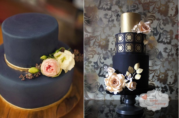 Wedding Cakes in Black   Cake Geek Magazine black wedding cakes with gold by Innovative Cake Designs left and Little  Teacup Bakery right
