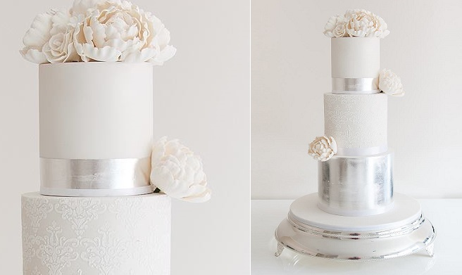 Lace   Metallics   Cake Geek Magazine lace and metallic silver wedding cake by Coco Cakes
