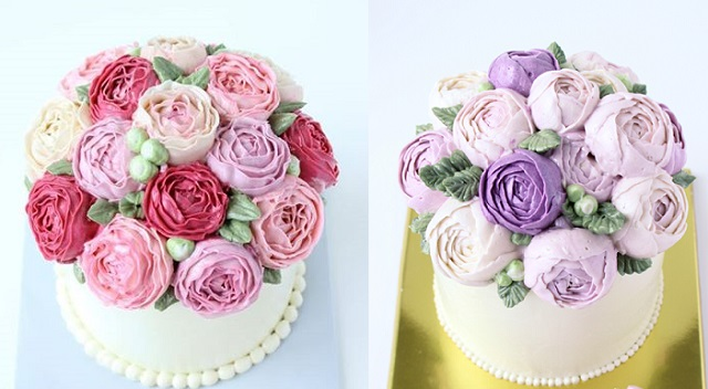 Buttercream Flowers   Tutorials     Cake Geek Magazine buttercream David Austen roses or cabbage roses and buttercream ranuncula  by Eat Cake Be Merry