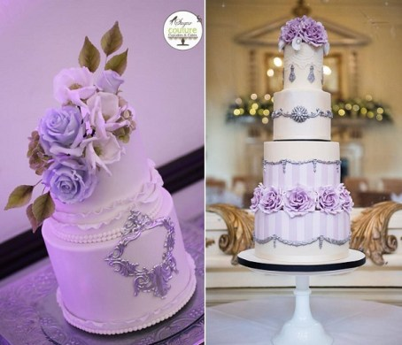 Purple  Lilac   Lavender Wedding Cakes   Cake Geek Magazine Antique silver and lilac roses wedding cakes by Sugar Couture Cupcakes and  Cakes left  Amelie s
