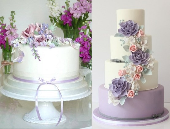 Purple  Lilac   Lavender Wedding Cakes     Cake Geek Magazine Gumpaste lilac blossoms and mixed florwers by Rachelle s Cakes left  The  Rolling Pin right
