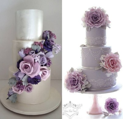 Purple  Lilac   Lavender Wedding Cakes   Cake Geek Magazine Purple and pink foral wedding cakes by Cakesalouisa left  Leslea Matsis  Cakes right