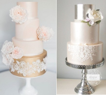Stencilled Lace Wedding Cakes   Cake Geek Magazine Rose gold and pink wedding cake by Suzanne Esper  Craig   Eva Sanders Phot  left