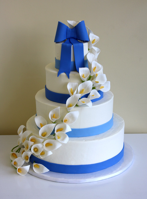 Wedding Cake with Calla Lily Cascade by CakeSuite  serving     Wedding Cake with Calla Lily Cascade