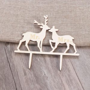 Deer Cake Toppers   Shop Deer Cake Toppers Online Lovs Deer Wedding Wood Cake Topper    Mr  Mrs    Connective Decorations