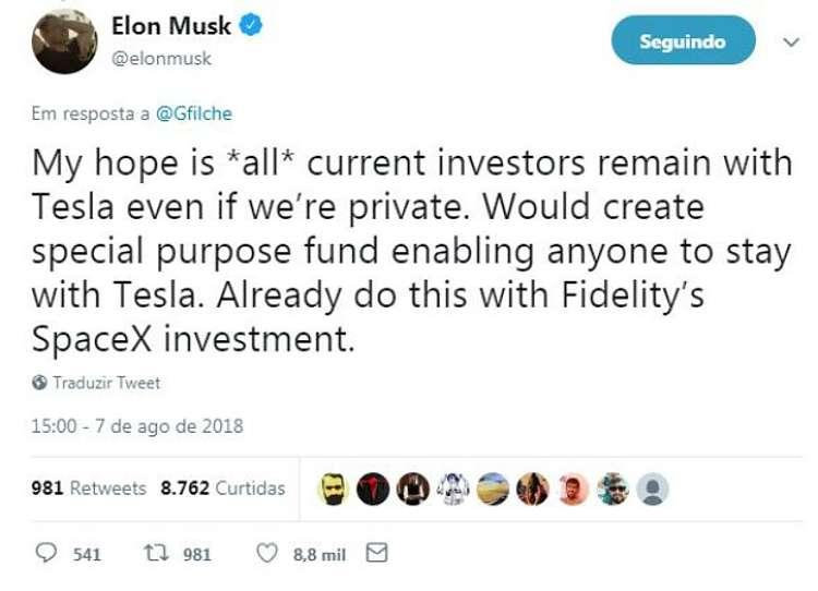 Elon Musk negocia saída da Tesla da bolsa de valores com investidores árabes (Foto: Reprodução Twitter)