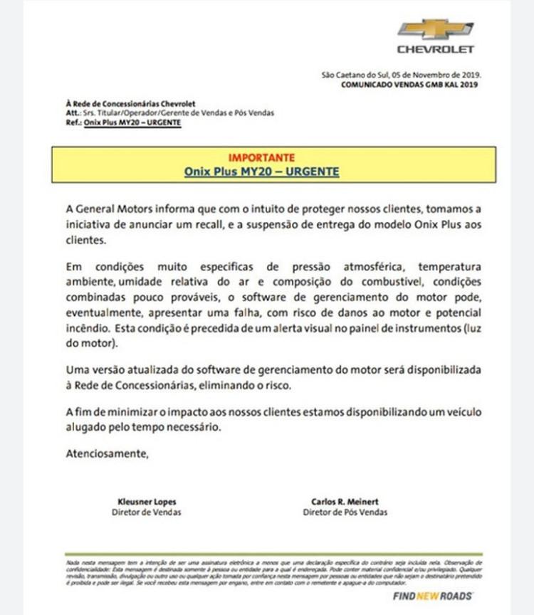 Chevrolet suspende entregas de Onix Plus por risco de incêndio (Foto: Divulgação)