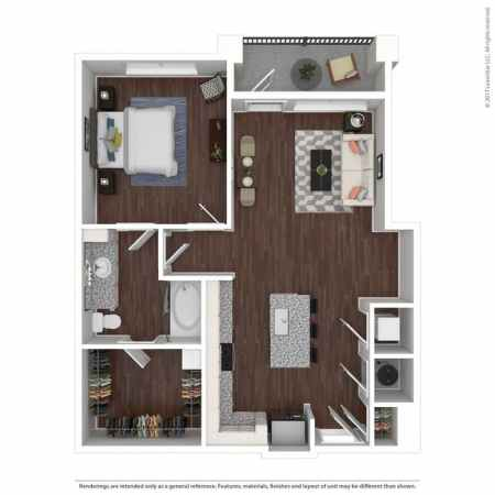 Apartments for Rent in Atlanta  GA   Seven by Cortland   Home 2D Diagram      3D Furnished
