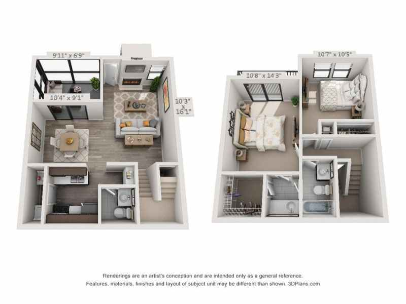 1   2 Bedroom Apartments in Plantation  FL   The Terraces Floor Plans     3D Furnished